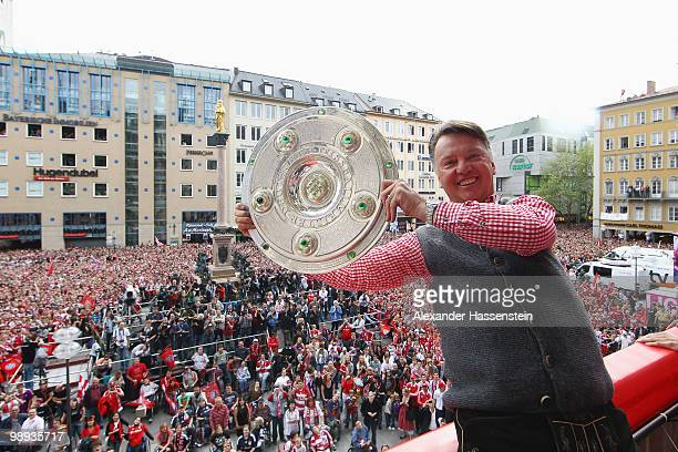 Head coach Louis van Gaal of Bayern Muenchen celebrates the German championship title on the balcony of the town hall on May 9, 2010 in Munich,...