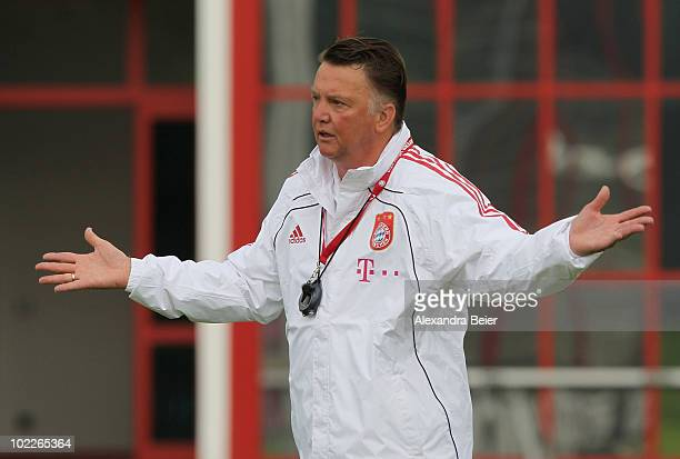 Head coach Louis van Gaal of Bayern Muenchen gestures during his teams' first training session for the upcoming season 2010/2011 on June 21 2010 in...