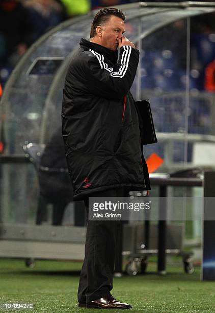 Head coach Louis van Gaal of Muenchen reacts during the UEFA Champions League group E match between AS Roma and FC Bayern Muenchen at Stadio Olimpico...
