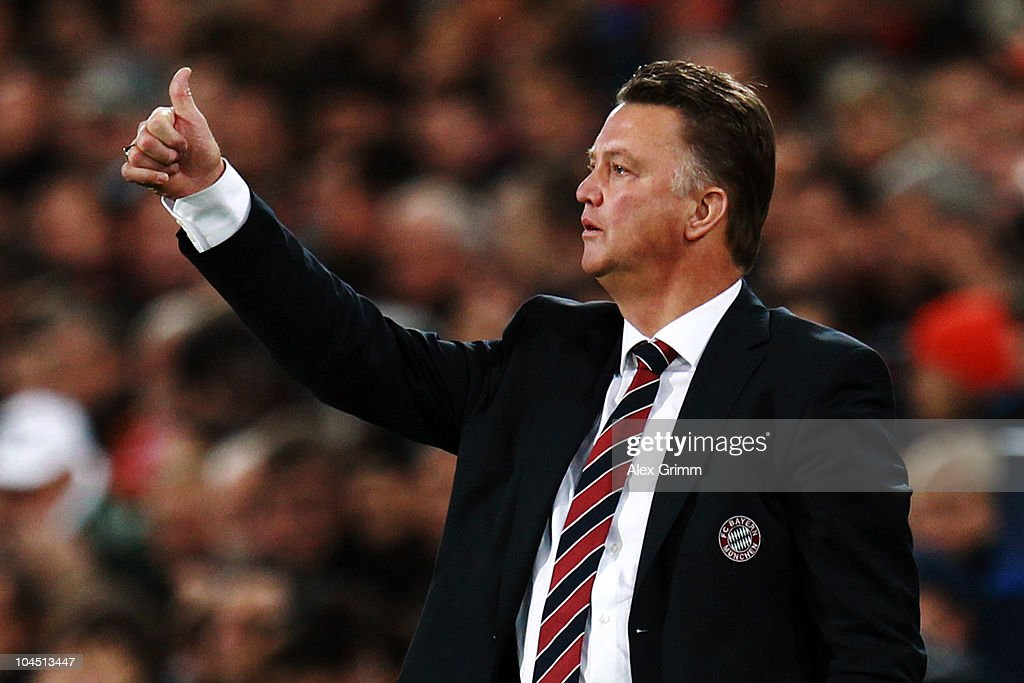 Head coach Louis van Gaal of Muenchen shows thumbs up during the UEFA Champions League group E match between FC Basel and FC Bayern Muenchen at the St. Jakob Park stadium on September 28, 2010 in Basel, Switzerland.