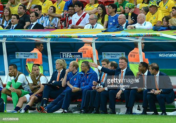 Head coach Louis van Gaal of the Netherlands and Wesley Sneijder of the Netherlands during the 2014 FIFA World Cup Brazil Third Place Playoff match...