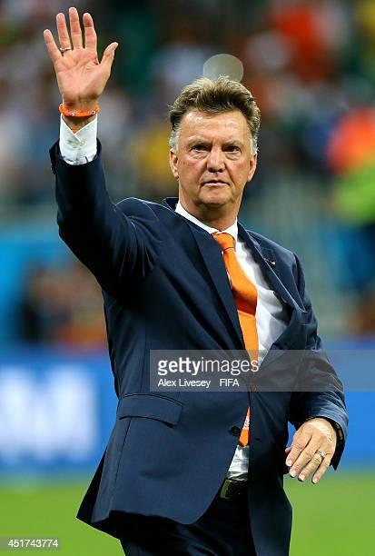 Head coach Louis van Gaal of the Netherlands celebates the win after the 2014 FIFA World Cup Brazil Quarter Final match between Netherlands and Costa...