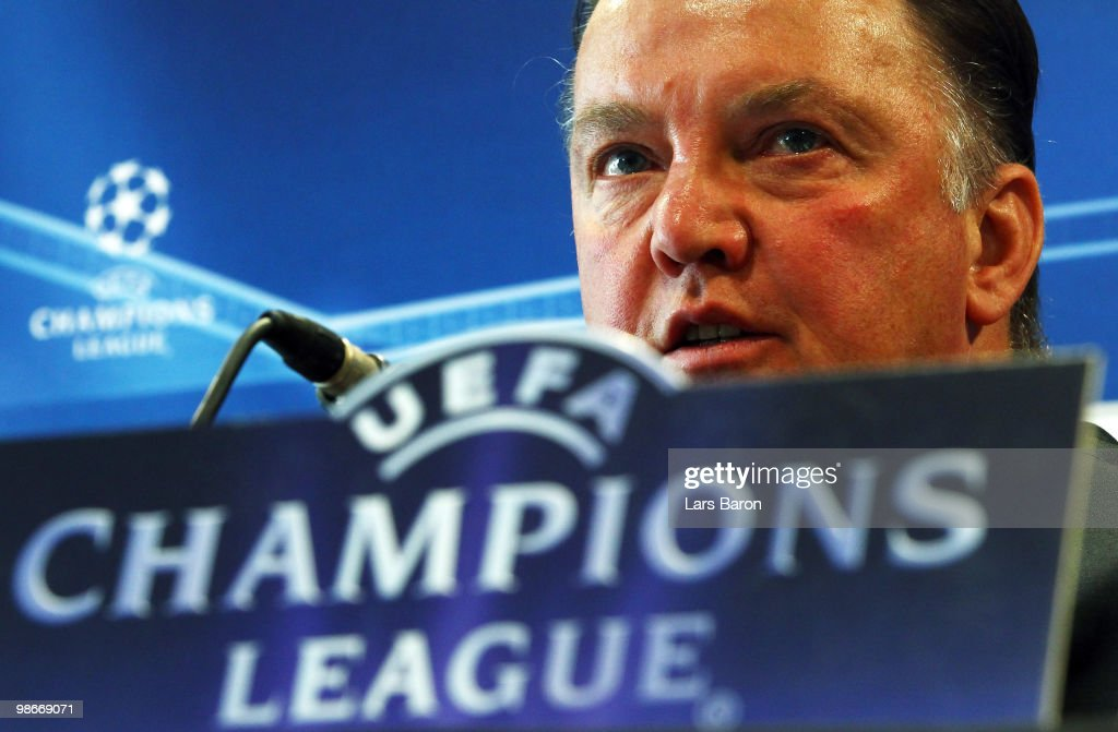 Head coach Louis van Gaal speaks during a Bayern Muenchen press conference on April 26, 2010 in Lyon, France. Muenchen will play against Olympic Lyon at the UEFA Champions League semi final second leg match on April 27.