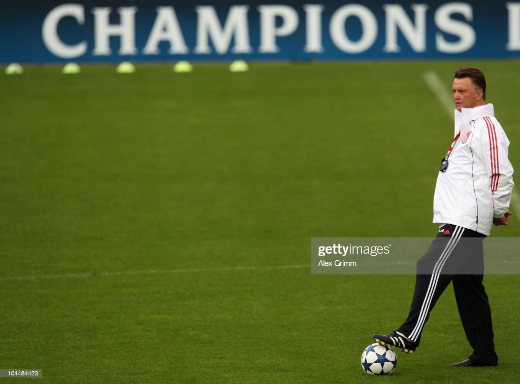 Head coach Louis van Gaal stands on a ball during the training session of Bayern Muenchen at the St. Jakob Park stadium ahead of their Champions League first round match against FC Basel on September 27, 2010 in Basel, Switzerland.