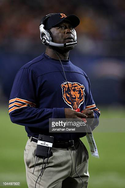 Head coach Lovie Smith of the Chicago Bears looks on against the Green Bay Packers at Soldier Field on September 27 2010 in Chicago Illinois