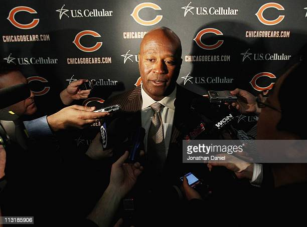 Head coach Lovie Smith of the Chicago Bears speaks to media during the 2010 Brian Piccolo Award ceremony at Halas Hall on April 26 2011 in Lake...