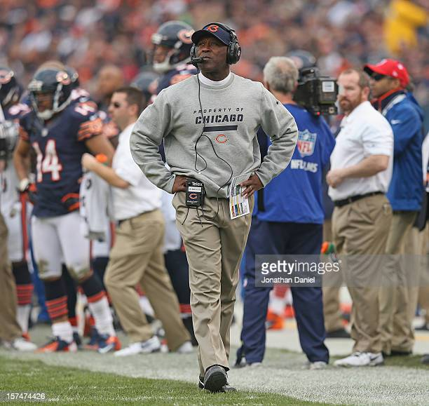 Head coach Lovie Smith of the Chicago Bears watches as his team takes on the Seattle Seahawks at Soldier Field on December 2 2012 in Chicago Illinois...