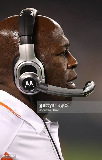 Head coach Lovie Smith of the Chicago Bears watches as his team takes on the San Francisco 49ers on August 21 2008 at Soldier Field in Chicago...