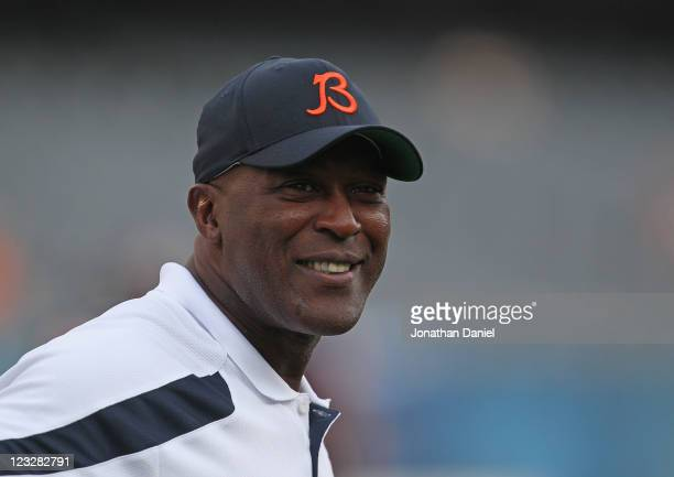 Head coach Lovie Smith of the Chicago Bears watches warmups before a preseason game against the Cleveland Browns at Soldier Field on September 1 2011...
