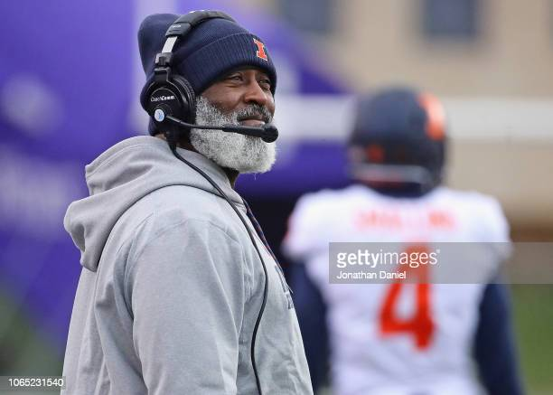 Head coach Lovie Smith of the Illinois Fighting Illini watches as his team takes on the Northwestern Wildcats at Ryan Field on November 24, 2018 in...