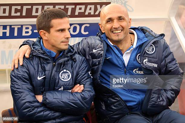 Head coach Luciano Spalletti and coach Igor Simmutenkov of FC Zenit St Petersburg during the Russian Football League Championship match between FC...