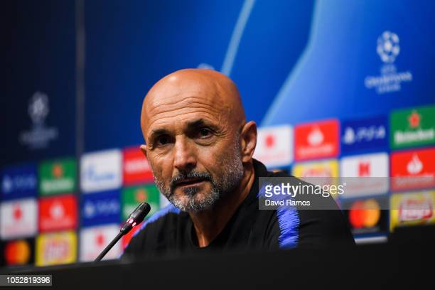 Head coach Luciano Spalletti of FC Internazionale faces the media during a press conference ahead of the UEFA Champions League Group B match between...