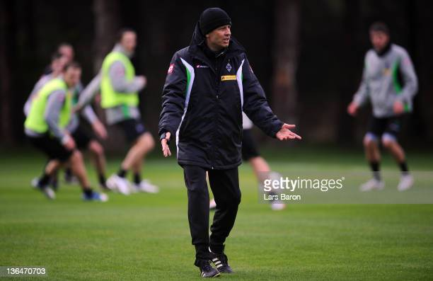 Head coach Lucien Favre gestures during a training session at day two of Borussia Moenchengladbach training camp on January 6 2012 in Belek Turkey
