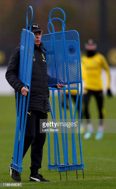 Head coach Lucien Favre is seen during a Borussia Dortmund training session on November 04 2019 in Dortmund Germany Borussia Dortmund will face Inter...