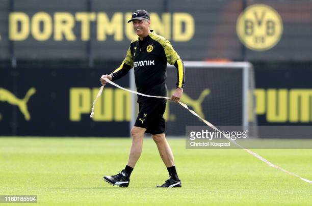 Head coach Lucien Favre looks on during a Borussia Dortmund training session at Training Ground Brackel on July 05 2019 in Dortmund Germany The team...