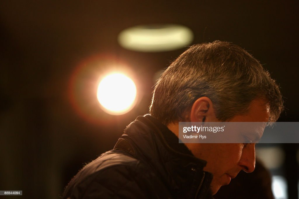 Head coach Lucien Favre of Berlin attends the press conference after the Bundesliga match between VfB Stuttgart and Hertha BSC Berlin at the Mercedes-Benz Arena on March 21, 2009 in Stuttgart, Germany.