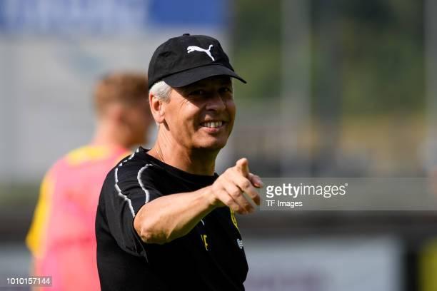 Head coach Lucien Favre of Borussia Dortmund gestures lacht lachen during the Borussia Dortmund training camp on August 2 2018 in Bad Ragaz...