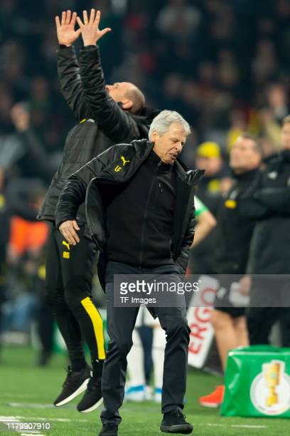 head coach Lucien Favre of Borussia Dortmund looks dejected during the DFB Cup second round match between Borussia Dortmund and Borussia...