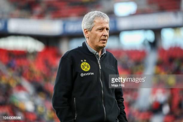 Head Coach Lucien Favre of Borussia Dortmund looks on prior to the Bundesliga match between Bayer 04 Leverkusen and Borussia Dortmund at BayArena on...