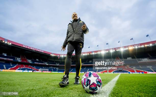 Head coach Lucien Favre of Borussia Dortmund seen during a training session behind closed doors after rules to limit the spread of Coronavirus...