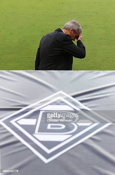 Head Coach Lucien Favre of Borussia Moenchengladbach dissapointed during the UEFA Champions League match between FC Sevilla and Borussia...