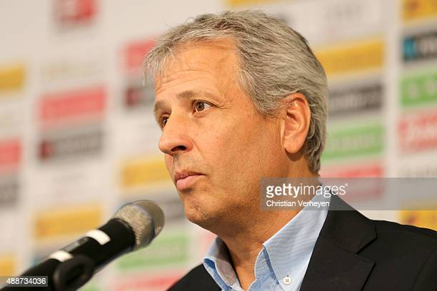 Head Coach Lucien Favre of Borussia Moenchengladbach during the press conference at Borussia Park on September 17 2015 in Moenchengladbach Germany