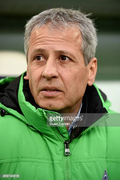 Head coach Lucien Favre of Borussia Moenchengladbach looks on prior to the Bundesliga match between VfL Wolfsburg and Borussia Moenchengladbach at...