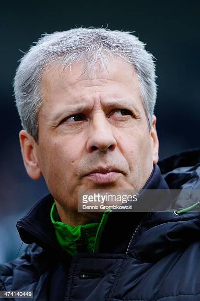 Head coach Lucien Favre of Borussia Moenchengladbach looks on prior to the Bundesliga match between Borussia Moenchengladbach and 1899 Hoffenheim at...