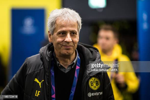 Head Coach Lucien Favre of Dortmund arrives for the UEFA Champions League group F match between Borussia Dortmund and Inter at Signal Iduna Park on...