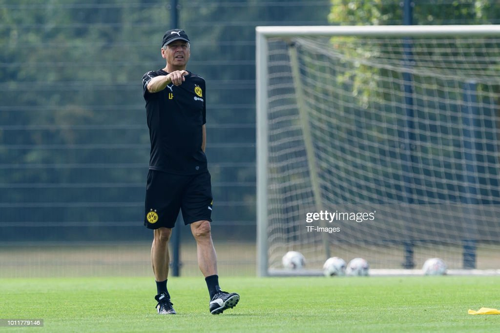 Head coach Lucien Favre of Dortmund gestures during a training session at BVB training center on July 12, 2018 in Dortmund, Germany.