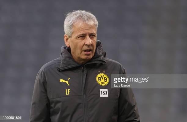 Head coach Lucien Favre of Dortmund is seen during the Bundesliga match between Borussia Dortmund and VfB Stuttgart at Signal Iduna Park on December...