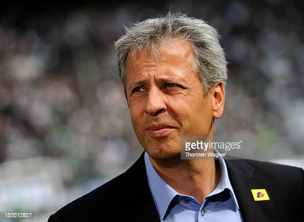 Head coach Lucien Favre of Moenchengladbach looks on prior to the Bundesliga match between Borussia Moenchengladbach and 1FC Nuernberg at Borussia...