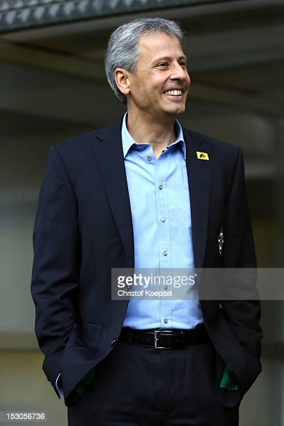 Head coach Lucien Favre of Moenchengladbach looks on prior to the Bundesliga match between Borussia Dortmund and VfL Borussia Moenchengladbach at...