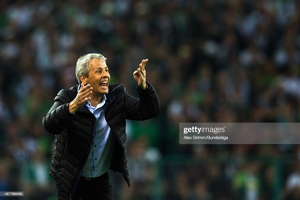 Head coach Lucien Favre of Moenchengladbach reacts during the Bundesliga match between Borussia Moenchengladbach and Hamburger SV at Borussia-Park on September 11, 2015 in Moenchengladbach, Germany.