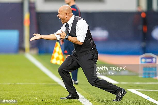 Head Coach Luigi Di Biagio of Italy reacts on the touchline during the UEFA Under21 European Championship between Italy and Sweden at Andruv Stadium...