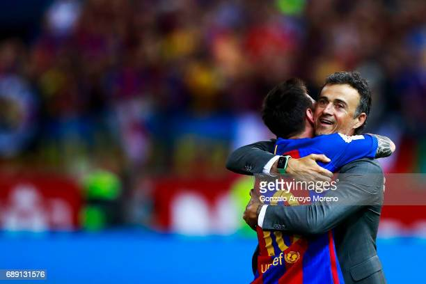 Head coach Luis Enrique Martinez hugs his player Lionel Messi after winning the Copa Del Rey Final between FC Barcelona and Deportivo Alaves at...