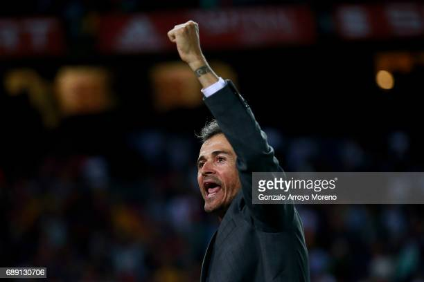 Head coach Luis Enrique Martinez of FC Barcelona celebrates after winning the Copa Del Rey Final between FC Barcelona and Deportivo Alaves at Vicente...