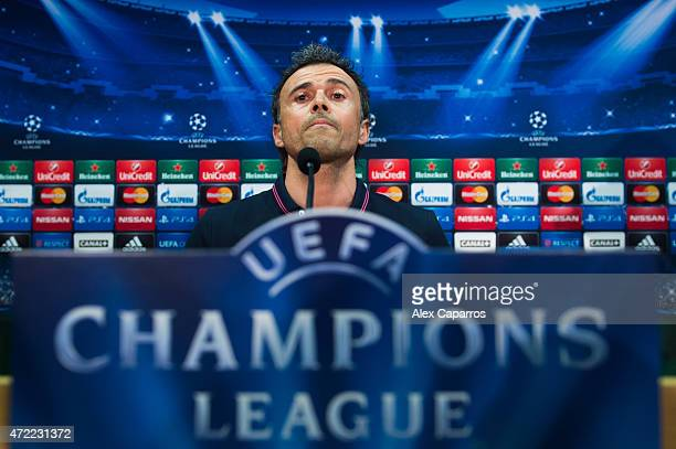 Head coach Luis Enrique Martinez of FC Barcelona faces the media during a press conference ahead of their UEFA Champions League semifinal first leg...