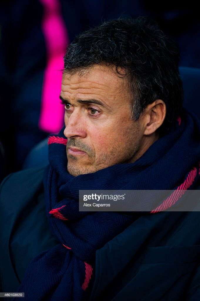 Head coach Luis Enrique Martinez of FC Barcelona looks on during the La Liga match between FC Barcelona and RCD Espanyol at Camp Nou on December 7, 2014 in Barcelona, Spain.