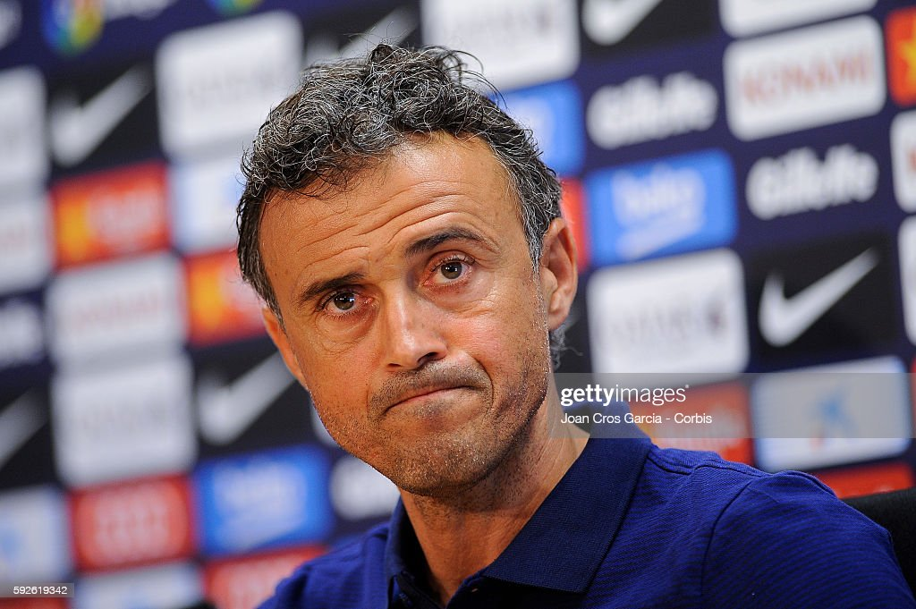 Head coach Luis Enrique of Barcelona attends a press conference at the Sports Center FC Barcelona Joan Gamper ahead of the first Spanish League match between F.C.Barcelona and Betis on August 19, 2016 in Sant Joan Despí, Spain.