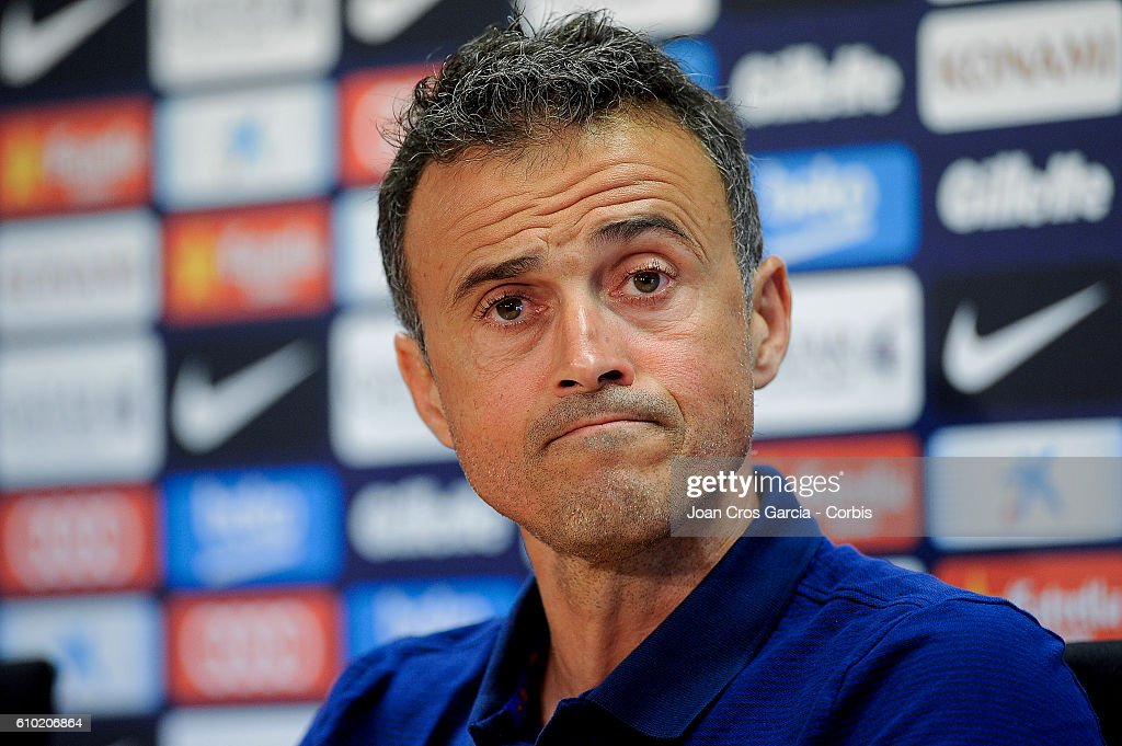 Head coach Luis Enrique of FC Barcelona attends a press conference at the Sports Center FC Barcelona Joan Gamper, before the Spanish League match between Sporting and F.C.Barcelona, on September 23, 2016 in Barcelona, Spain.