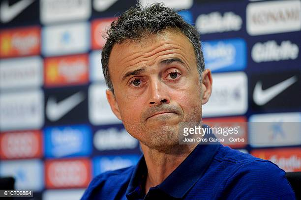 Head coach Luis Enrique of FC Barcelona attends a press conference at the Sports Center FC Barcelona Joan Gamper before the Spanish League match...