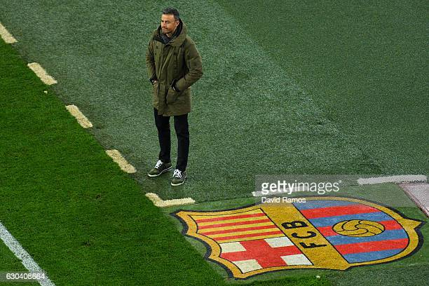 Head coach Luis Enrique of FC Barcelona looks on during the Copa del Rey round of 32 second leg match between FC Barcelona and Hercules at Camp Nou...