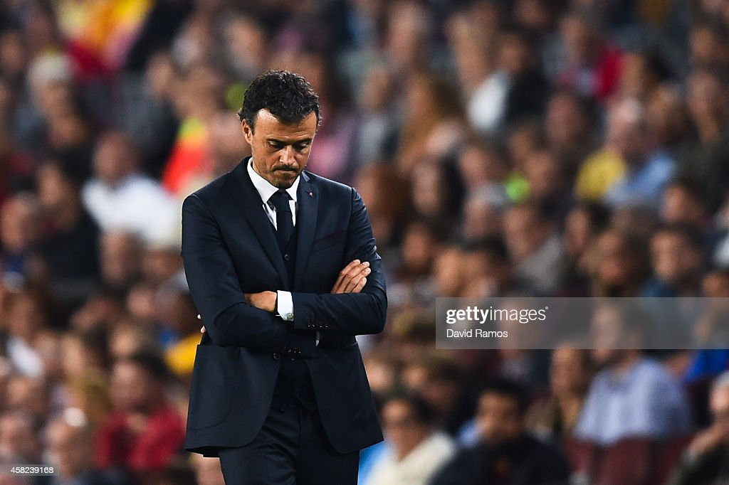 Head coach Luis Enrique of FC Barcelona looks on during the La Liga match between FC Barcelona and Celta de Vigo at Camp Nou on November 1, 2014 in Barcelona, Spain.