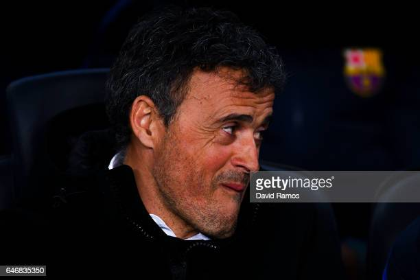 Head coach Luis Enrique of FC Barcelona looks on during the La Liga match between FC Barcelona and Real Sporting de Gijon at Camp Nou stadium on...