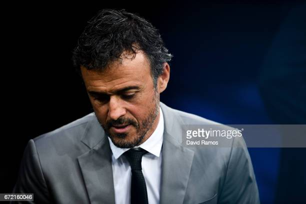 Head coach Luis Enrique of FC Barcelona looks on during the La Liga match between Real Madrid CF and FC Barcelona at the Santiago Bernabeu stadium on...