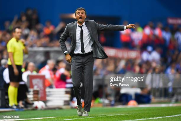 Head coach Luis Enrique of FC Barcelona reacts during the Copa Del Rey Final between FC Barcelona and Deportivo Alaves at Vicente Calderon stadium on...