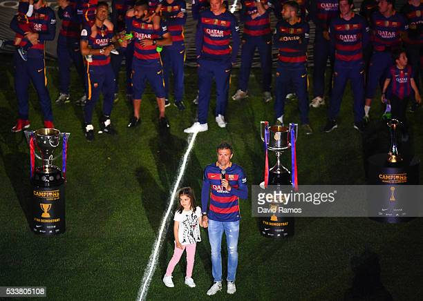 Head coach Luis Enrique of FC Barcelona speaks during the celebrations of La Liga and Copa del Rey trophies at the Camp Nou stadium on May 23 2016 in...