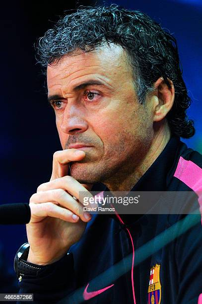 Head coach Luis Enrique of FC Barcelona speaks to the media during a press conference ahead of their UEFA Champions League round of 16 match against...