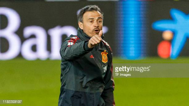 Head coach Luis Enrique of Spain gestures during the Spain training session at Mestalla Stadium on March 22, 2019 in Valencia, Spain.